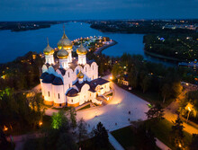 Night Aerial View Of Assumption Cathedral On Bank Of Volga River In Russian City Of Yaroslavl