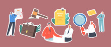 Set Of Stickers With Business Characters Shaking Hand, Gavel, Briefcase And Businesswoman With Magnifier, Business Rules