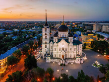 Evening Summer Voronezh, Annunciation Cathedral, Aerial Drone View