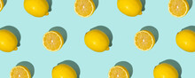 Fresh Citrus Seamles Fine Pattern. Ripe Fruit Tropical. Trendy Sunlight Summer Pattern Made With Lemon Slice On Bright Turquoise Blue Background. Minimal Summer Concept. Duotone, Bold Color Banner