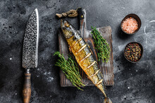 BBQ Grilled Mackerel Fish With Herbs. Black Background. Top View