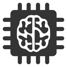 Brain Chip Vector Illustration. A Flat Illustration Design Of Brain Chip Icon On A White Background.
