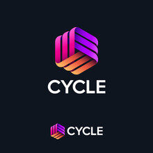Cycle Logo. Three Ribbons, Intertwined Elements, Infinity, Looping, Rotation, Solid Figure. Monogram For Business, Internet, Online Shop, Label Or Packaging.