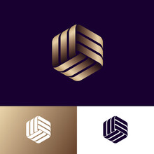 Abstract Logo. Three Golden Ribbons, Intertwined Elements, Infinity, Looping, Rotation, Solid Figure. Monogram For Business, Internet, Online Shop, Label Or Packaging.