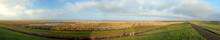Panorama View From The Dike To The North Sea In The National Park Wadden Sea In PIlsum East Frisia On A Sunny Summer Day With A Clear Blue Sky And A Few Clouds