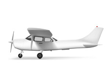 3D White Private Single Engine Taxiing Plane