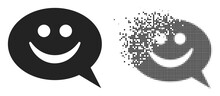 Dispersed Dot Happy Message Vector Icon With Wind Effect, And Original Vector Image. Pixel Explosion Effect For Happy Message Demonstrates Speed And Motion Of Cyberspace Things.