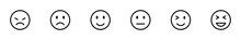 Conjunto De Iconos Emoticones. Caritas De Reacciones. Concepto De Reacciones De Chat, Emoji