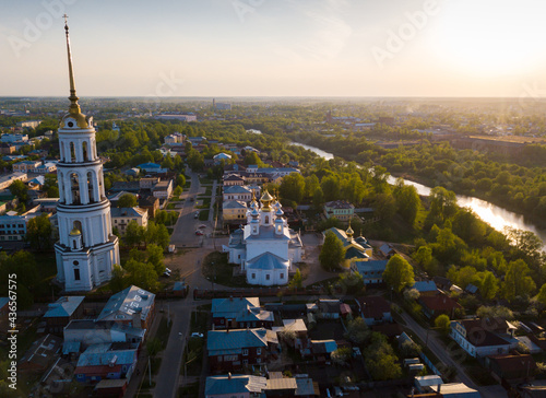 Valokuva Aerial panoramic view of Shuya cityscape on bank of Teza River with Resurrection