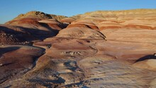 Beautiful Red Moonscape Rock Landscape Of Utah On A Sunny Day - Aerial