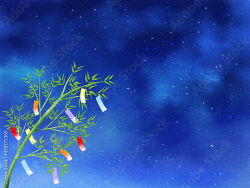 Canvastavla 夜空と短冊が揺れる笹(ヨコ)