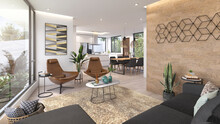 Sala Y Comedor De Casa Con Decoración Moderna, 3d Render