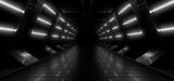 Fototapeta Do przedpokoju - A dark tunnel lit by white neon lights. Reflections on the floor and walls. 3d rendering image.