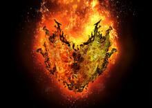 抽象的なハート形の炎