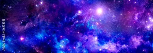 Billede på lærred Cosmic background , stardust and shining stars, colorful nebula