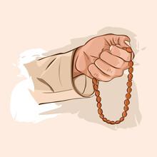 Muslim Man Hands Holding Rosary Vector