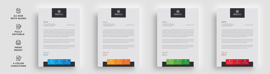 letterhead flyer business corporate newest trendy professional unique newsletter magazine single poster template design with logo