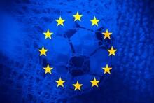 Soccer Ball Inside The European Flag.