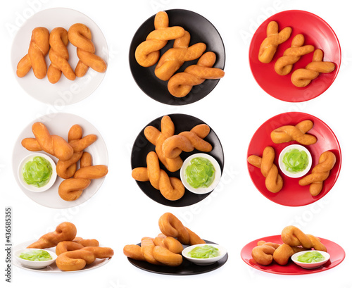 Fotografía Collection of pandan custard with deep-fried dough stick on dish isolated on white background