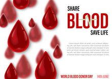 Blood Droplets In Glass Style With Slogan And The Day, Name Of Event And Example Texts On Blurred Red Droplets Isolated On White Background. Poster's Campaign Of World Blood Donor Day In Vector Design