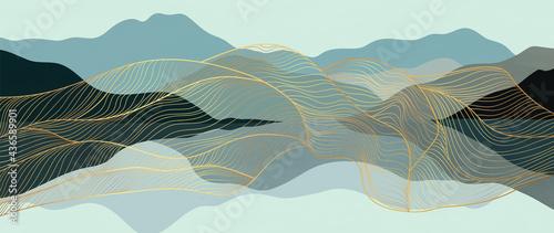 Obraz na płótnie Mountain and gold line art abstract background vector