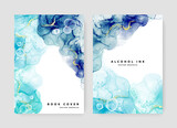 Abstract brochure A4 cover layout with gradient of blue alcohol ink texture, original background for print materials, booklet template design for business, watercolor texture, gold elements, bubbles