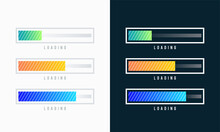Set Of Loading Bar Vector Illustration. Progress Visualization. Loading Status Collection. Web Design Elements, Loading Infographic Vector Template