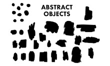 抽象的な図形、ブラシストローク、ペイントの筆跡の形の図形のベクターセット