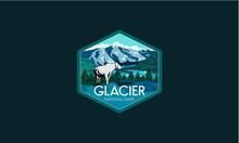 Glacier National Park Vector Illustration