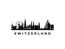 Vector Switzerland Skyline. Travel Switzerland Famous Landmarks. Business And Tourism Concept For Presentation, Banner, Web Site.