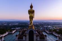 Big Golden Buddha Statue Standing In Wat Phra That Kao Noi