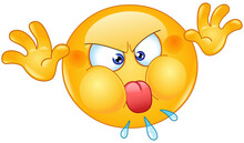 Angry Mischievous Emoji Emoticon Face Making A Grimace, Sticking Out His Tongue And Playing With His Hands For Misbehavior.