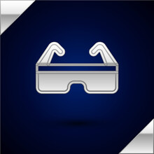 Silver Safety Goggle Glasses Icon Isolated On Dark Blue Background. Vector