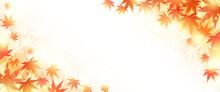 秋の紅葉と光の美しいベクターイラストフレーム背景