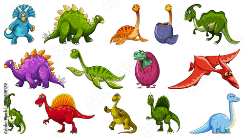 Canvas Set of different dinosaur cartoon character isolated on white background