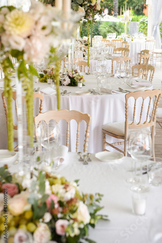 Fotografiet Wedding venue outdoors in a garden with stylish decor