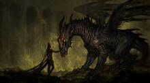 Dark Queen With Undead Dragon - Fantasy Digital Illustration