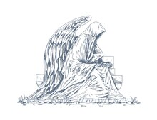 Gravestone Of Grave With Stone Angel Sculpture Sitting Over Headstone. Catholic Tombstone With Statue. Outlined Religious Memorial Tomb. Hand-drawn Vector Illustration Isolated On White Background