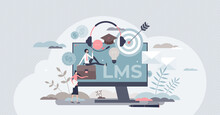 Learning Management System Or LMS As Online Education Tiny Person Concept. Training And Knowledge Software Application As Skill Practice Qualification Framework Vector Illustration. Online Study Scene