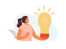 Happy Girl Holding A Light Bulb. Generation Of Ideas And Search For A Solution. Creativity And Imagination Vector Illustration