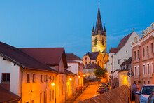 Twilight Image With Sibiu Streets And Cathedral Of Saint Mary, Romania.