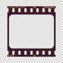 Photographic Film Slide. Realistic Vector Illustration With Shadow On Transparent Background. Blank Vintage Photo Frame. Individual Sheet Of Transparent Film With Double Perforations, 35mm Width.