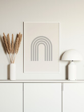 3d Render Of A Modern All White Mockup Interior With Wooden Frame On An Empty Wall And A White Vase With Pampas Grass