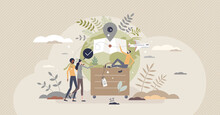 Sustainable Tourism With Ecological Responsible Travel Tiny Person Concept. Environmental Friendly Transportation Choice For Holidays And Vacation Vector Illustration. Eco Journey And Ecotourism Scene