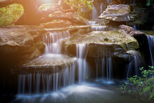 Blurred Background,The Waterfall At Wat Tham Pha Daen In Sakon Nakhon Province Is A New Tourist Destination.