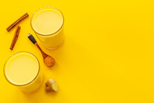 Golden Milk Latte Coffee Or Tea With Turmeric And Ginger. Hot Vegan Drink