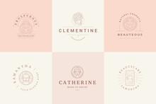 Feminine Logos Emblems Design Templates Set With Magic Female Portraits Vector Illustrations Minimal Linear Style