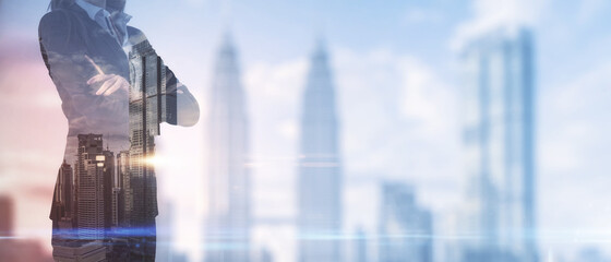 Businesswoman standing on blurry New York city background. Success and leadership concept. Multiexposure.