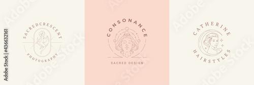 Fotografie, Obraz Feminine logos emblems design templates set with magic female vector illustratio
