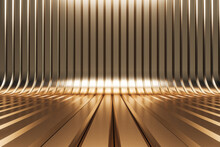Abstract Shiny Golden Interior With Lines. 3D Rendering.